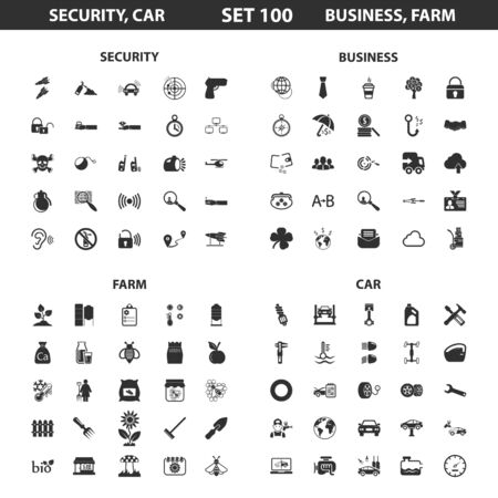 set the intention: Security,car set 100 black simple icons.Business, farm icon design for web and mobile device.