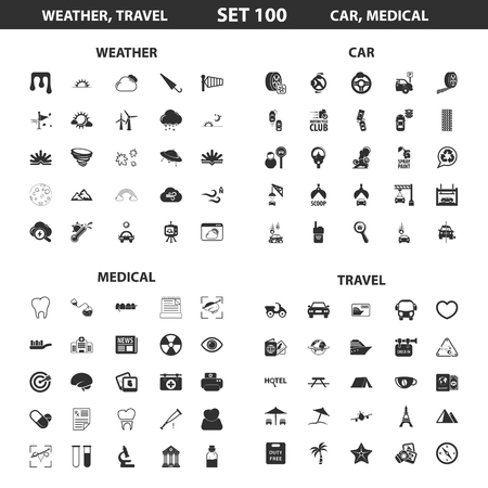 ampoule: Weather, car set 100 black simple icons. Travel, medical icon design for web and mobile device.