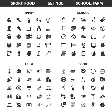 crossbar: Sport, fitness, school set 100 black simple icons. Food, farm, gardening icon design for web and mobile device.