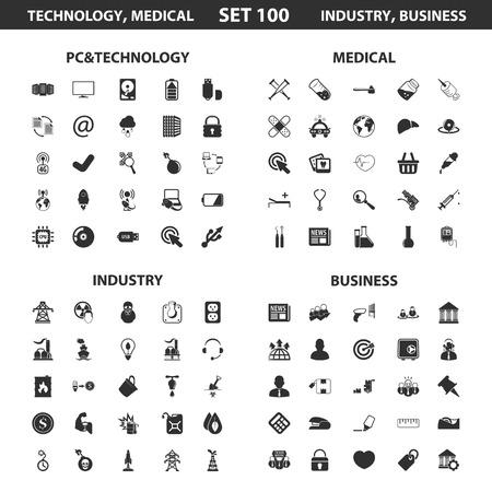 PC, la tecnología encuentra a 100 iconos simples negros. , La industria, el diseño de iconos de visita médica para la web y dispositivos móviles. Ilustración de vector