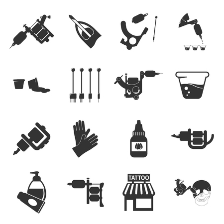 parlor: Tattoo, parlor, machine 16 black simple icon.Tattoo studio designed icons for web and mobile.