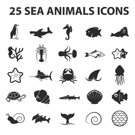 25: Sea, animal, fish 25 black simple icons. New collection of 25 modern icon. Illustration