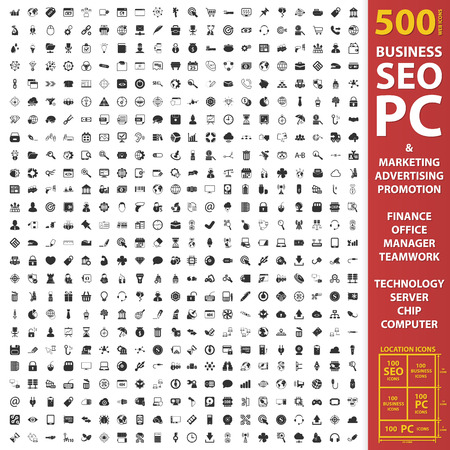 carnero: Negocio, SEO, determinada de la PC 500 iconos simples negros. Marketing, publicidad, icono de la promoción del diseño para la web y dispositivos móviles