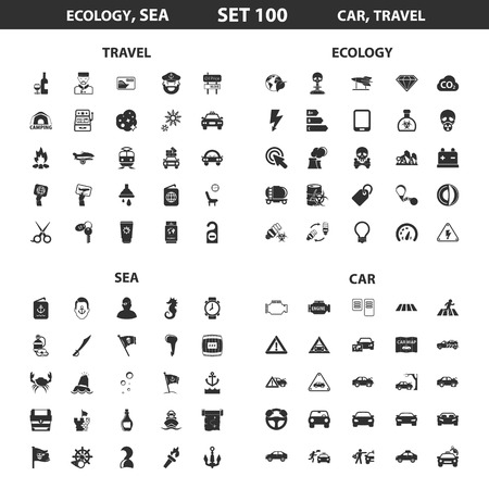 ecology icons: Ecology, sea set 100 black simple icons. Ocean, car icon design for web and mobile device.