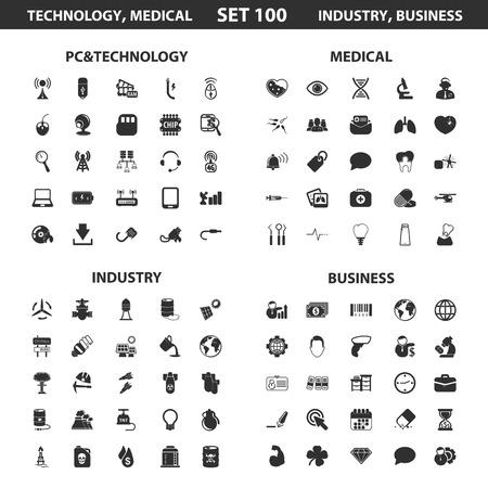 PC, technologie stelt 100 zwarte eenvoudige pictogrammen in. Medisch, industrie, zakelijke pictogram ontwerp voor web en mobiel apparaat. Vector Illustratie