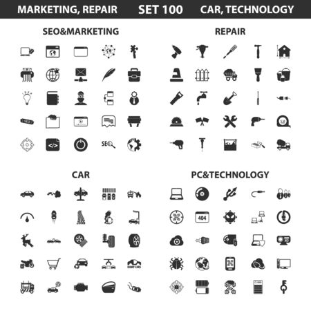computer repairing: Seo, marketing set 100 black simple icons.Pc, technology, car, repair icon design for web and mobile device. Illustration