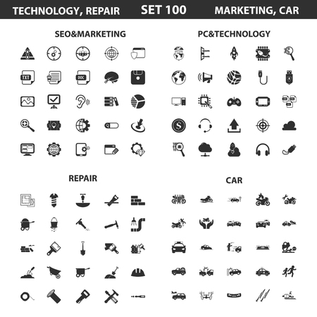 circuit sale: Seo, marketing set 100 black simple icons.Pc, technology, car, repair icon design for web and mobile device. Illustration