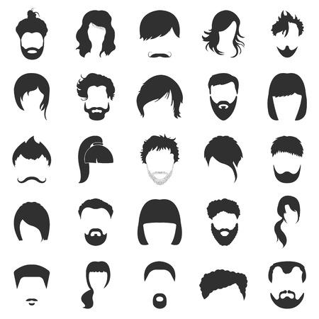 unshaven: Hair 25 black simple icons set for web design