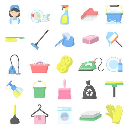 dish washing gloves: Cleaning 25 cartoon icons set for web design