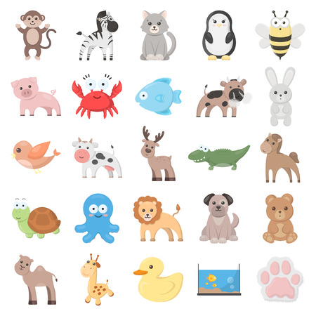 ox: Animal 25 cartoon icons set for web design