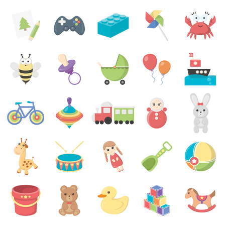 Toys 25 cartoon icons set for web design