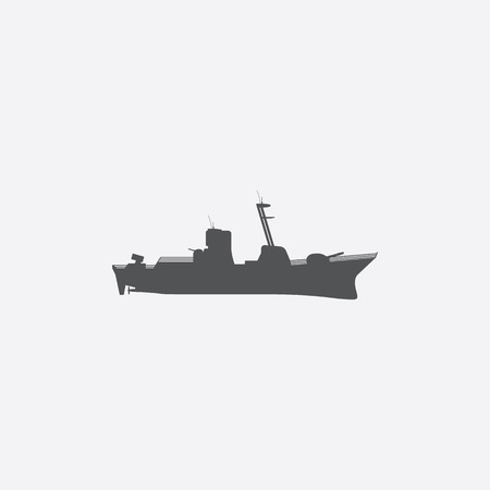 battleship: Warship icon of vector illustration for web and mobile design