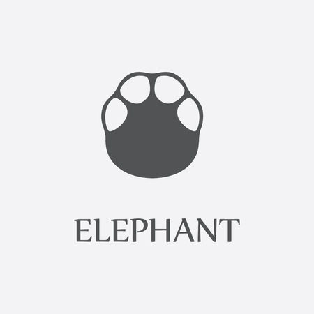 Elephant print black simple icon for web and other design. Illustration