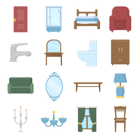double tap: Furniture set vector icons. Collection of interior, home, comfort icons for web