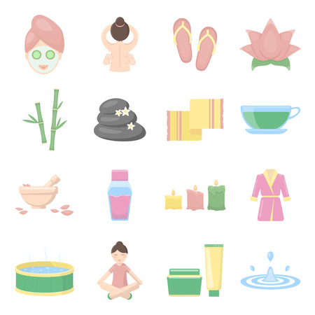 suppository: Spa set vector icons. Collection of beauty, makeup, massage icons for web Illustration