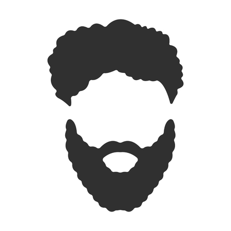 sideburn: Mustache, beard and hair black simple icon. Illustration for web and mobile.