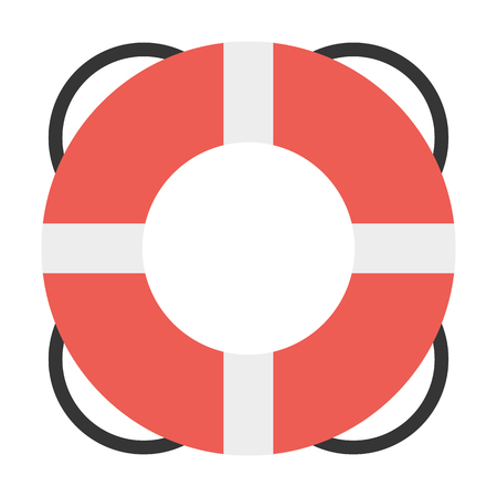 danger to life: LIfebuoy flat icon. Illustration for web and mobile.