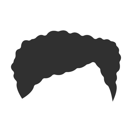 sideburn: Hair black simple icon. Illustration for web and mobile.