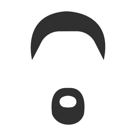 handlebar: Mustache, beard and hair black simple icon. Illustration for web and mobile.