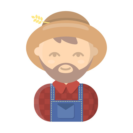 agrarian: Farmer cartoon icon. Illustration for web and mobile.