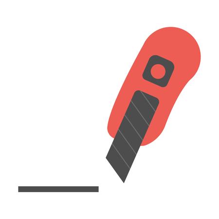 dangerous construction: Utility knife flat icon. Illustration for web and mobile. Illustration