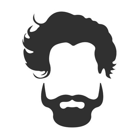 口ひげ、あごひげ、髪は黒いシンプルなアイコンです。Web や携帯電話のイラスト。 写真素材 - 56169047