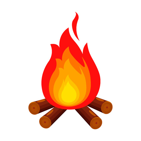 firewood: Campfire with firewood icon of vector illustration for web and mobile design