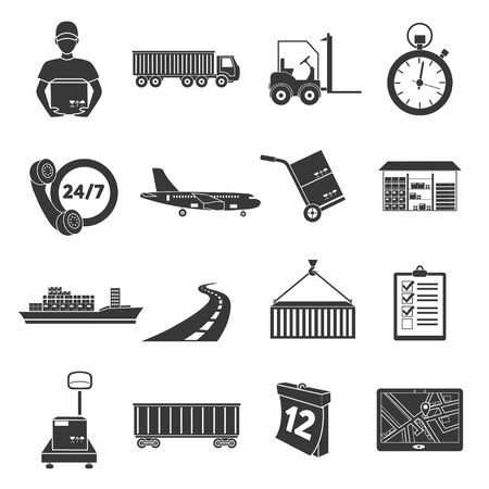 sea transport: Logistics set of vector icons. Delivery icons in black simple style for web.