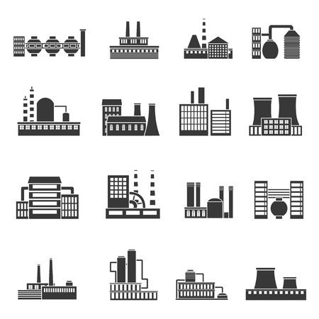 manufactory: Factory power electricity industry manufactory buildings set of vector icons in black simple