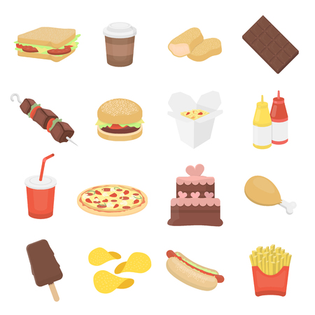 nuggets: Fast food 16 vector icon set in cartoon style for web design.