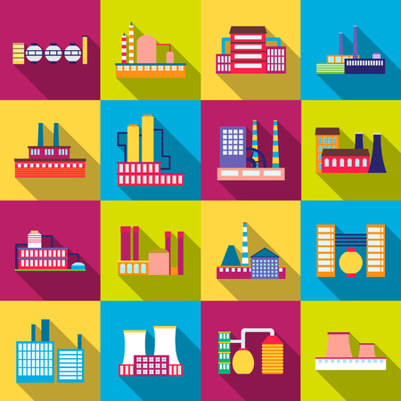 manufactory: Factory power electricity industry manufactory buildings set of vector icons in flat design Illustration