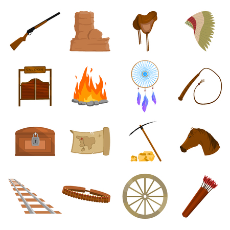 wild web: Wild west 16 vector icon set in cartoon style for web design.