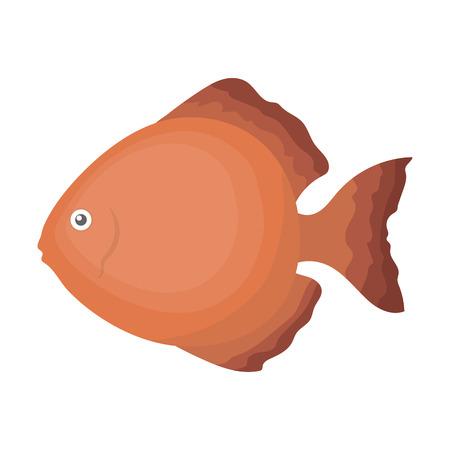 Discus fish icon cartoon. Singe aquarium fish icon from the sea,ocean life collection.