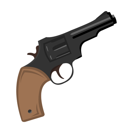six shooter: Revolver icon cartoon. Singe western icon from the wild west collection. Illustration