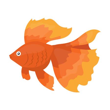 Gold fish icon cartoon. Singe aquarium fish icon from the sea,ocean life collection.
