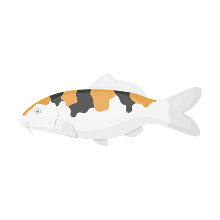 koy: Carp-koi fish icon cartoon. Singe aquarium fish icon from the sea,ocean life collection. Illustration