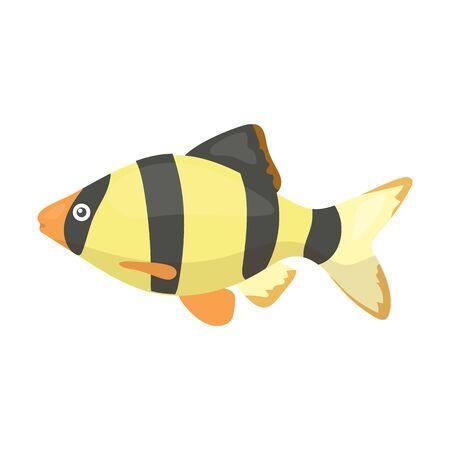 barbus: Barbus fish icon cartoon. Singe aquarium fish icon from the sea,ocean life collection.