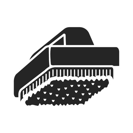 brush cleaner: Cleaner brush icon black simple. One icon of a large cleaning collection.
