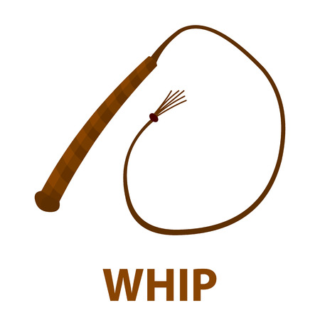 Whip icon cartoon. Singe western icon from the wild west collection - stock vector