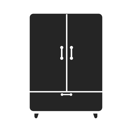 interiour: Cupboard icon black simple. One icon of a large interiour collection.
