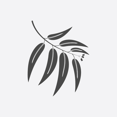 gum tree: Eucalyptus icon black simple style. Singe nature icon from the big forest plant set. Illustration