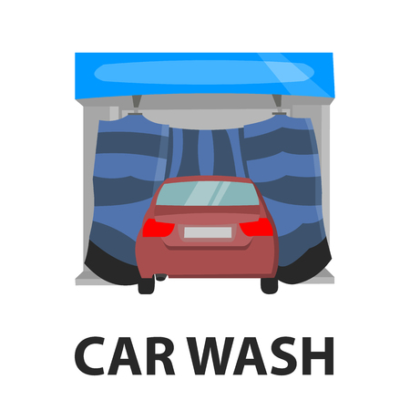 stock car: Car wash icon cartoon style. Single silhouette auto parts icon from the big car set - stock vector