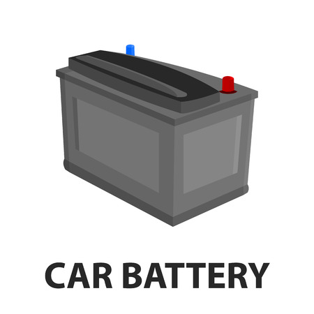 Car battery icon cartoon style. Single silhouette auto parts icon from the big car set - stock vector