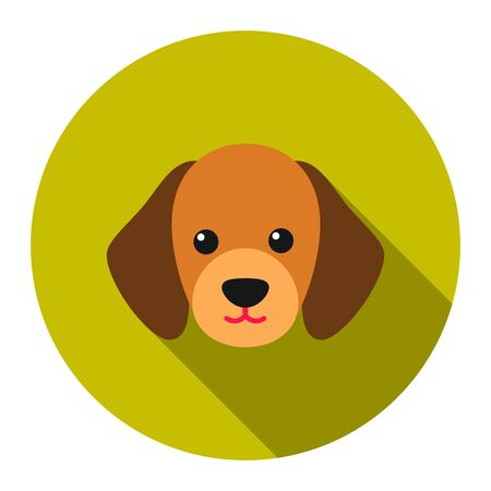 big dog: Dog muzzle vector icon flat style. Singe pet icon from the big dog collection - stock vector Illustration