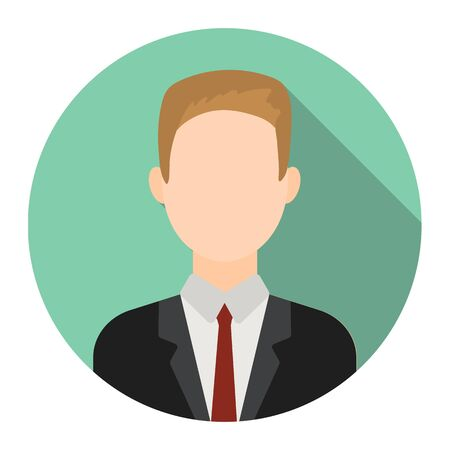 salesman: Businessman icon flat. Single avatar,people icon from the big avatar collection - stock vector Illustration