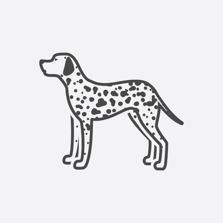 dalmatian: Dalmatian icon black simple style. Singe dog icon from the dog breads set - stock vector