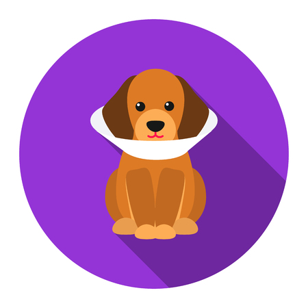 cold compress: Sick dog vector icon flat style. Singe pet icon from the big dog collection - stock vector