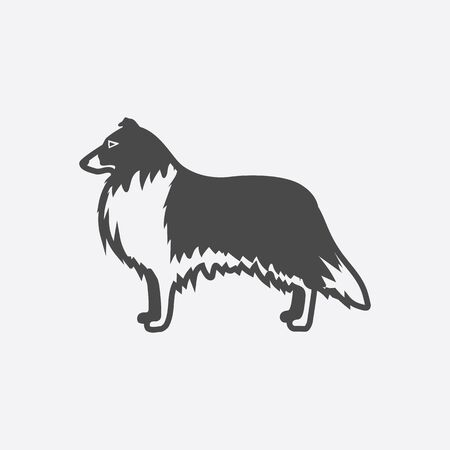 collie: Collie icon black simple style. Singe dog icon from the dog breads set - stock vector