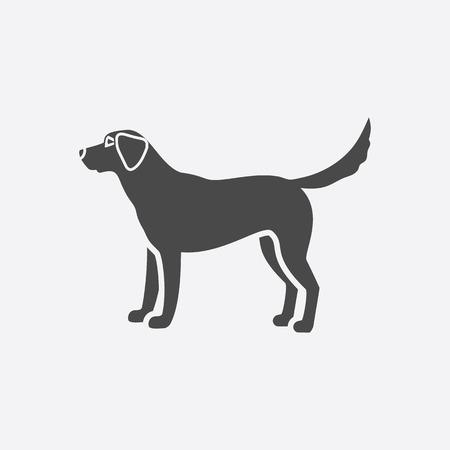 black labrador: Labrador icon black simple style. Singe dog icon from the dog breads set - stock vector