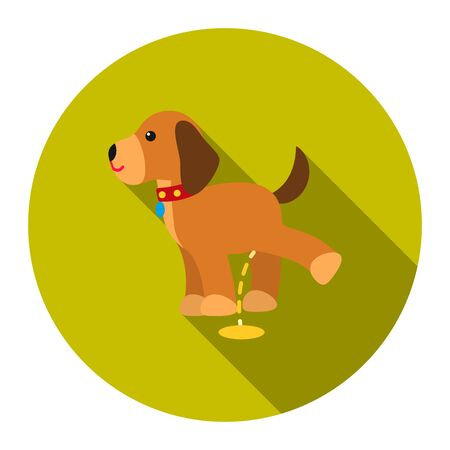 pissing: Pissing dog vector icon flat style. Singe pet icon from the big dog collection - stock vector